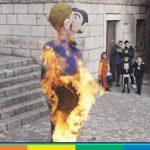 Carnevale in Croazia: al rogo manichino di coppia gay con bimbo in braccio